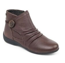 Padders CARNABY Ladies Womens Leather Extra Wide Fit Zip Warm Ankle Boots Brown