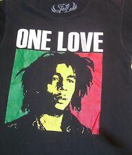 Bob Marley One Love Tee Shirt SZ M Blk w Color Portrait Reggae Music 100% Cotton