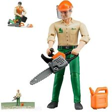 Bruder Logging Man with Accessories Hard Hat and Visor Chain Saw and Fuel