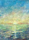 original painting A3 294MG art samovar modern Mixed Media seascape sunset