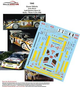 Decals 1/43 Ref 1948 Audi Sport Quattro S1 Mikkola Rally Mounted Carlo 1986