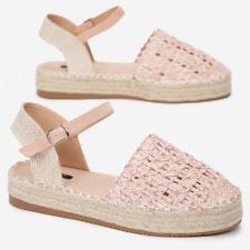 Summer Women's Ankle Strap Flat Sandals Platform Espadrilles Shoes Size UK