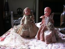"Royal Japan Celluloid bride and bridesmaid doll approx 8"" tall 1920 dress"
