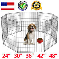 8 Panel Black Dog Fence Pet Playpen Kennel Cat Exercise Cage 24''30''36''42''48