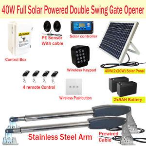 Full Solar Powered Double Swing Farm Gate Motor Opener Automatic Motor 40W 9AH