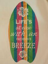 "Shaped Surfboard w Hawaiian Hibiscus ""Life'S at ease w Ocean Breeze"" Garden flag"