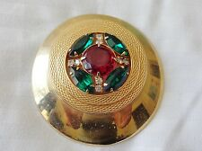 GORGEOUS  HUGE GOLD TONE  BROOCH PENDANT GREEN STONES WITH RUBY RED CENTER STONE