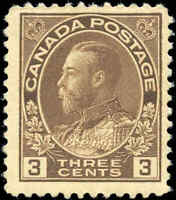 Mint H 1918 Canada F+ Scott #108c King George V Admiral Stamp