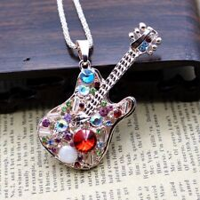 Fashion Women Golden Crystal Guitar Pendant Long Chain Sweater Necklace Gift