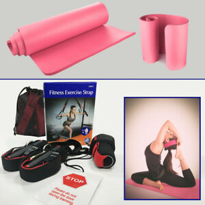 Body Weight Exercise Suspension Strap & Pink Warmup Mat/Yoga Mat Slip-Resistant