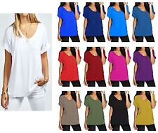 NEW WOMENS LADIES BAGGY TOP TURN UP SHORT SLEEVE LOOSE FIT TOP T-SHIRT SIZE 8-26