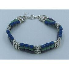 3 Strand .925 Sterling Silver Fused Chip Inlay Charoite Lapis Variscite Bracelet