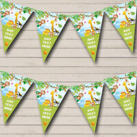 Party Banner Bunting Safari Jungle Animals Personalised Children's