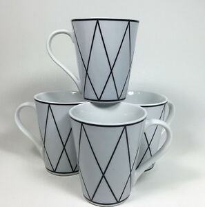Mugs Cups 10 Strawberry Street White And Black Criss Cross Pattern (Set of 4)