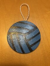 Volleyball Wooden Ornament (blue & black)