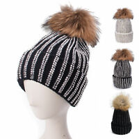A391 Womens Diamante Rhinestone Beanie Skull Knit Fur Pom Pom Bobble Cap Hats