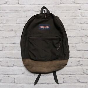 Vintage 90s Jansport Leather Backpack Day Pack Made in USA Black
