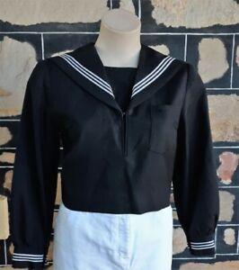 Japanese School Girl Uniform Top & hat, Black, wool/polyester, size 6-8
