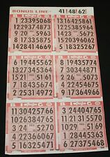 BINGO PAPER Cards, 6 on 1 Red T 50 sheets NO duplicates  BONUS LINE  FREE SHIP