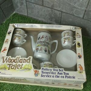 Woodland Tales Pottery Tea Set retro 1992 boxed wind in the Willow's