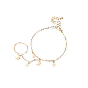 Gold Chain Charm Bracelet Finger Ring  Bracelet Hand Chain Bridal Jewelry AU