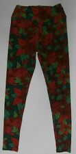 Women's Print Leggings | Red/Green Floral; One Size