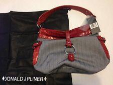 NEW- Designer DONALD J PLINER Tote/Shoulder Bag Purse Leather Silver Hardware