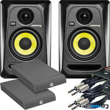 "KRK Rokit 4 G3 RP4 Active Studio Monitors x 2 + ""FREE"" Isolation Pads & Leads"