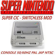Console Super Nintendo SNES SuperCIC SWITCHLESS 50/60hz PAL / NTSC / JAP **HOT**
