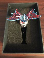 BUTTERFLY Multi-Colored Glass Wine Bottle Stopper By Two's Company Blue Colorful