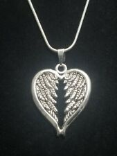 Heart Wing Necklace Pendant on Sterling Silver Chain Heart Angel Wings Love