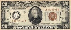 Silver Certificate - $20 Twenty Dollars - Hawaii - 1934 A Note