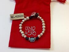 NWT Uno de 50 Silvertone Beaded Bracelet w Larger Blue Bead 7.5""