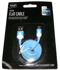 1M USB de Plano Macho a Macho Micro USB Teléfono Móvil Cargador Cable de datos AZUL-Plomo