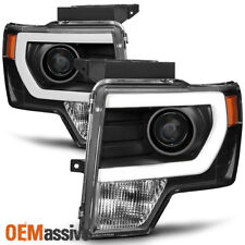 Fit [Halogen] 2009-2014 Ford F150 Black DRL LED Tube Projector Headlights
