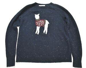 Loft Women Navy Blue Raglan Long Sleeve LLama Crew Neck Knit Pullover Sweater XS