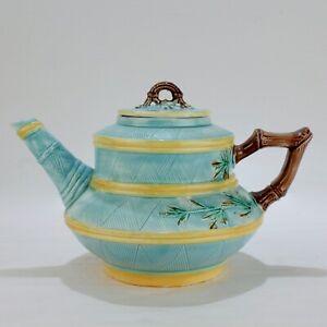 Antique English Bamboo Decorated Majolica Teapot - Holdcroft? George Jones? - PT