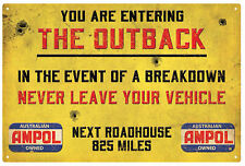 AMPOL ROADHOUSE OUTBACK WARNING  RUSTIC  TIN SIGN  20 x 30 cm AMPOL PETROL SIGN