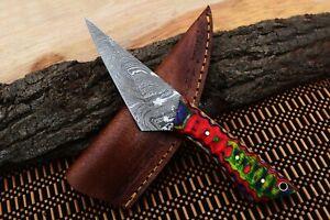 """8""""MH KNIVES CUSTOM HANDMADE DAMASCUS STEEL FULL TANG HUNTING/SKINNER KNIFE D-63C"""