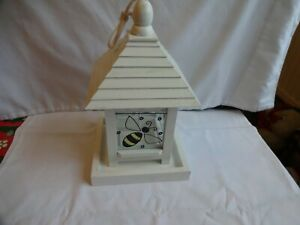 Hanging Bird Feeder Novelty Wood & Glass Feeding Station Seed Height 26 cm