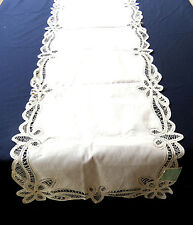 Battenburg Lace Table Runner Dresser Scarf Piano Cover Beige Cotton 17x70 NWT