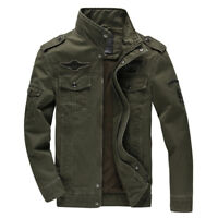 Mens Slim Fit Outwear Stand Collar Jackets Military Leisure Cotton Coats Leisure