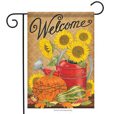 "Fall Watering Can Garden Flag Ribbon Sunflowers 2 Sided 12.5""x18"""