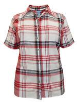Liz & Me blouse shirt top plus size 20/22 28/30 check cotton multicoloured