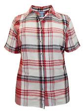 Liz & Me blouse shirt top plus size 20/22 28/30 32/34 36/38 check cotton multi