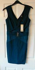 LIPSY Green Slinky Wrap Buckle Front Wiggle Dress Size UK 14 EUR 42 BNWT