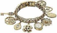 Anne Klein Womens 10-8096CHRM made with Swarovski Crystal Accented Gold-Tone
