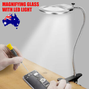 Magnifying Glass with Light Large Lens Lighted LED Lamp Desk Magnifier Clamp New