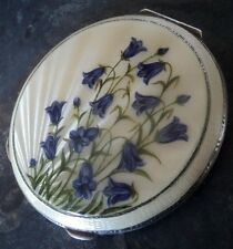 Superb Sterling Silver & Enamel Bluebell Compact h/m 1948 Henry Clifford Davies