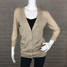 NYC New York & Company Women Boyfriend Cardigan Medium V Neck Thin Pockets Beige